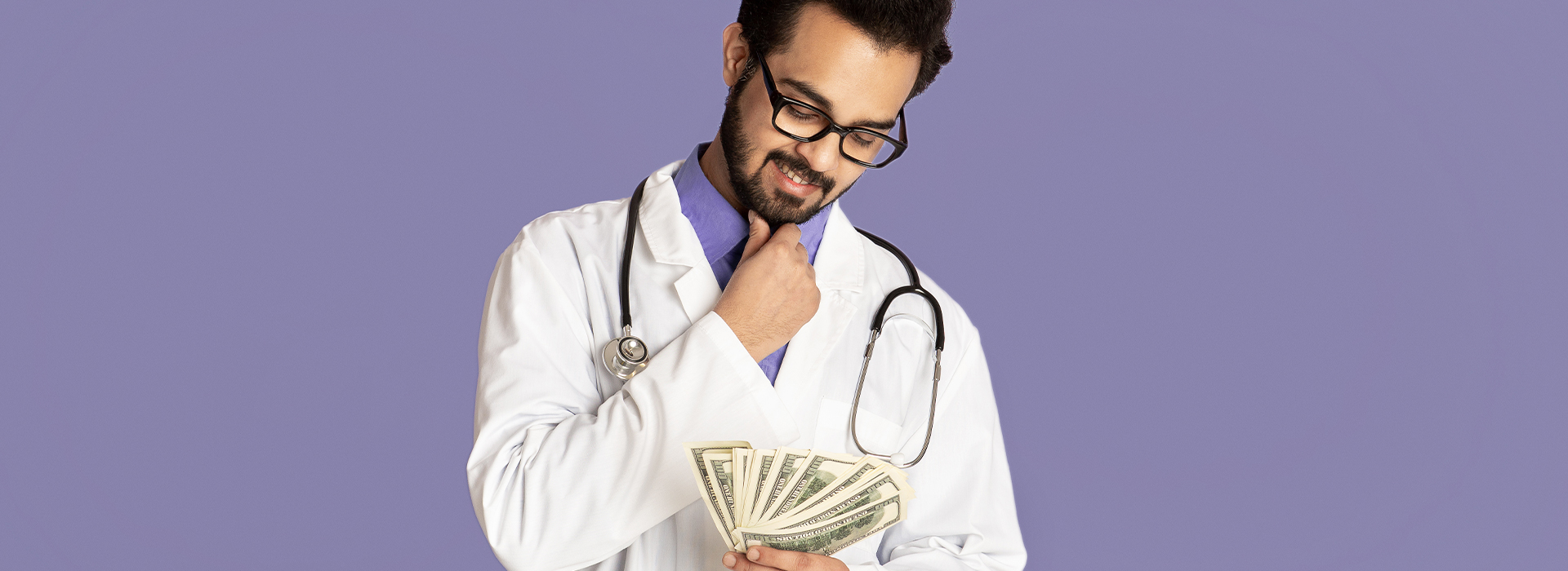 Male nurse looking at his salary